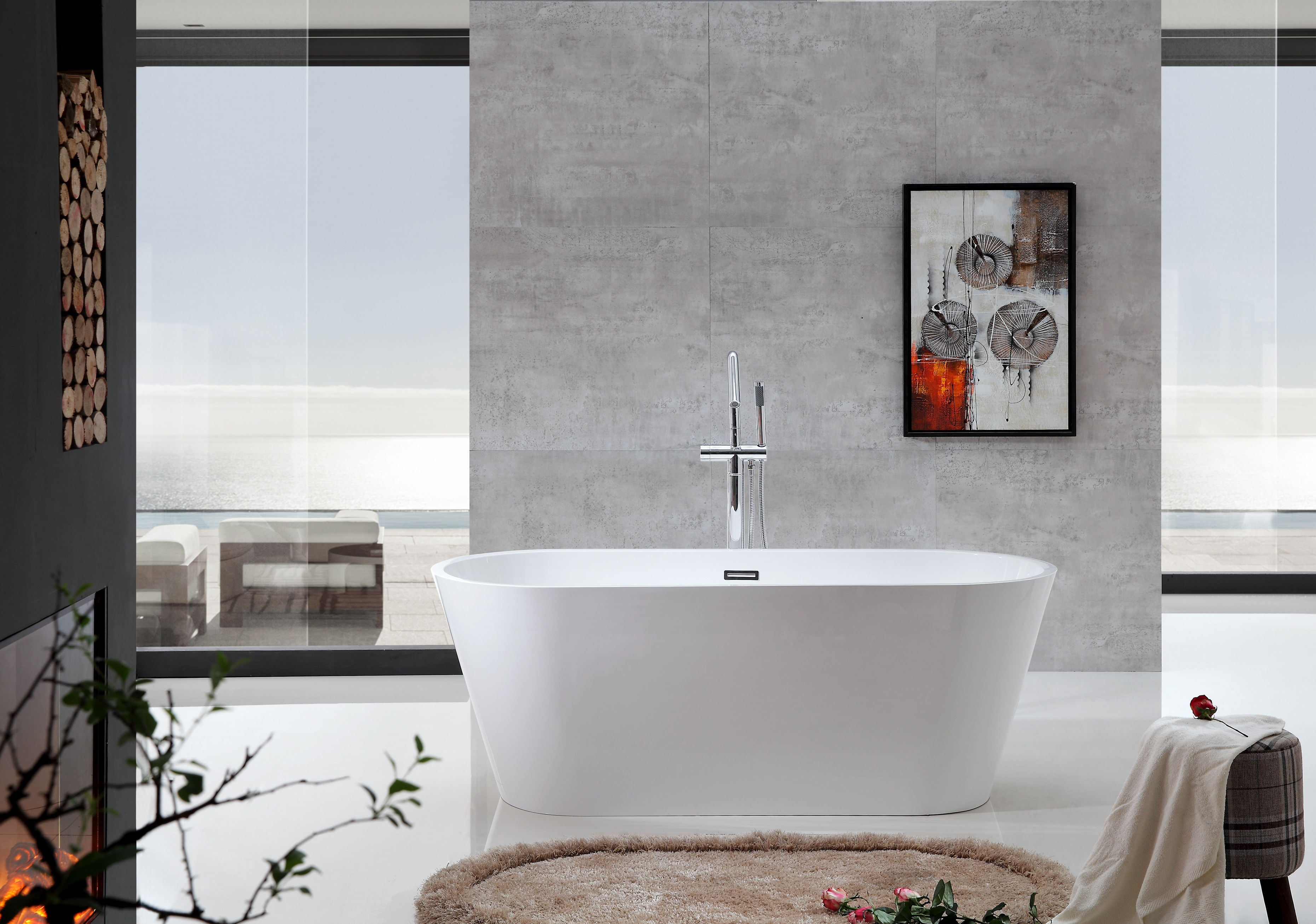 Tranquillity stone free standing bath tub - Rio Bathroom Warehouse