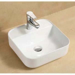 Camber square above counter wash basin with taphole