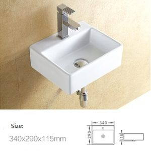 Powder room mini wall hung ceramic basin