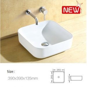 Leena square above counter top ceramic basin