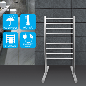 Round 8 heat rods free standing heated towel rail