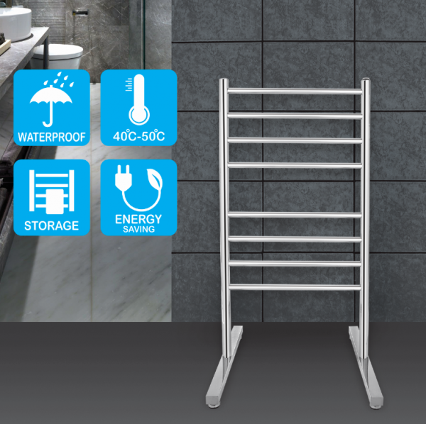 Round 8 heat rods free standing heated towel rail