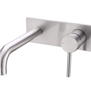 PIN lever round brushed nickel wall basin bath mixer with spout