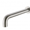 Brushed nickel round curved fixed basin bath spout