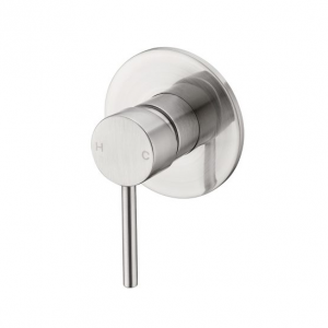 PIN lever round bath shower mixer brushed nickel