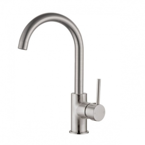 Brushed nickel goose neck kitchen/laundry sink mixer