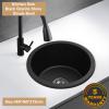 460MM round matt black drop in granite sink
